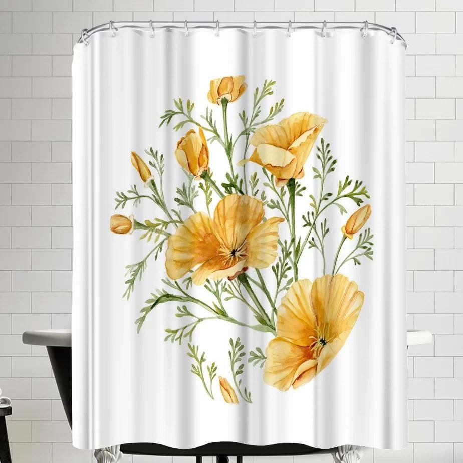 california poppies single shower curtain
