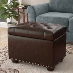 Chocolate Brown Leather Sectional Sofa With 2 Storage Ottomans Meyer Birch Lane Quickview