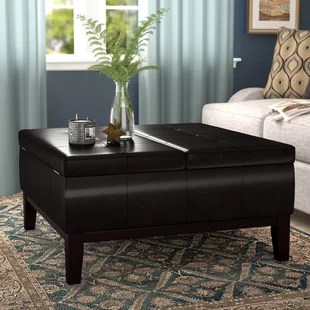 annatone 36 wide faux leather tufted square cocktail ottoman with storage
