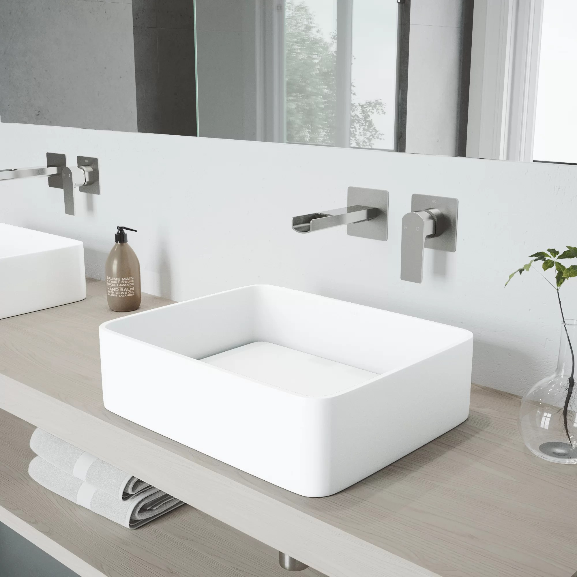 matte stone white rectangular vessel bathroom sink with wall mount faucet