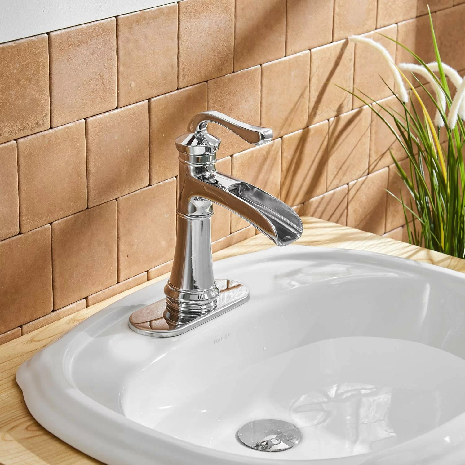 dfi chrome waterfall commercial single hole one handle bathroom sink faucet deck mount lavatory