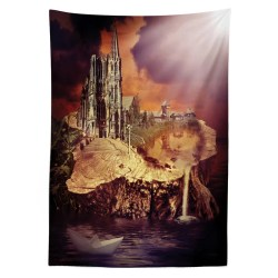 East Urban Home Ambesonne Gothic Tablecloth Fantasy Castle And Village On Stump In The Water Scary Sunset Medieval Fiction Art Rectangular Table Cover For Dining Room Kitchen Decor 52 X 70 Purple