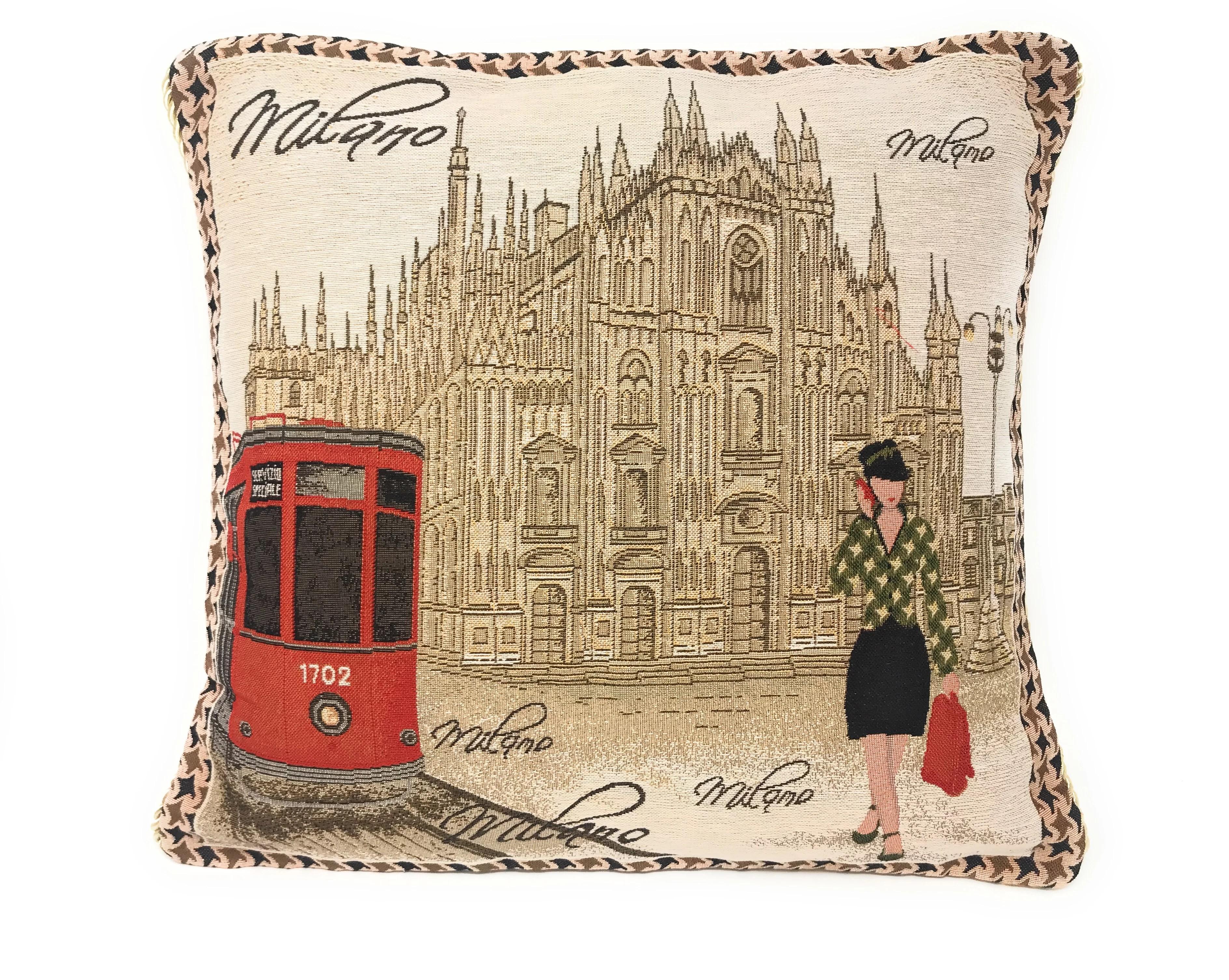 postcard of milan woven pillow cover