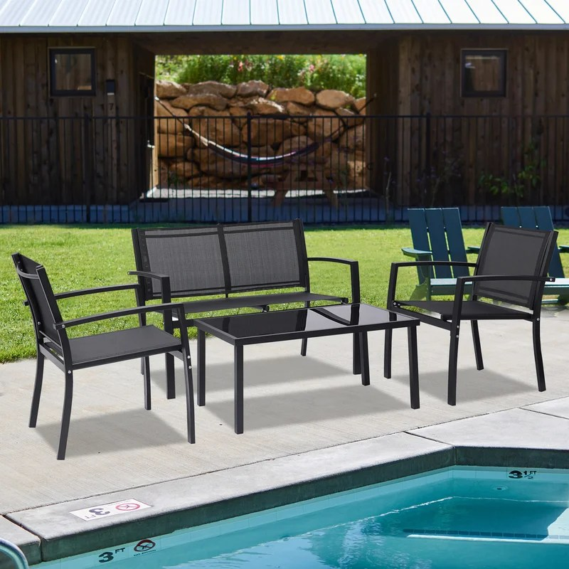 pieces patio furniture set outdoor garden patio conversation sets poolside lawn chairs with glass coffee table porch furniture black