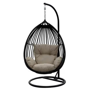 hanging chairs with stand for bedrooms upholstered counter height chair modern contemporary egg allmodern audra swing