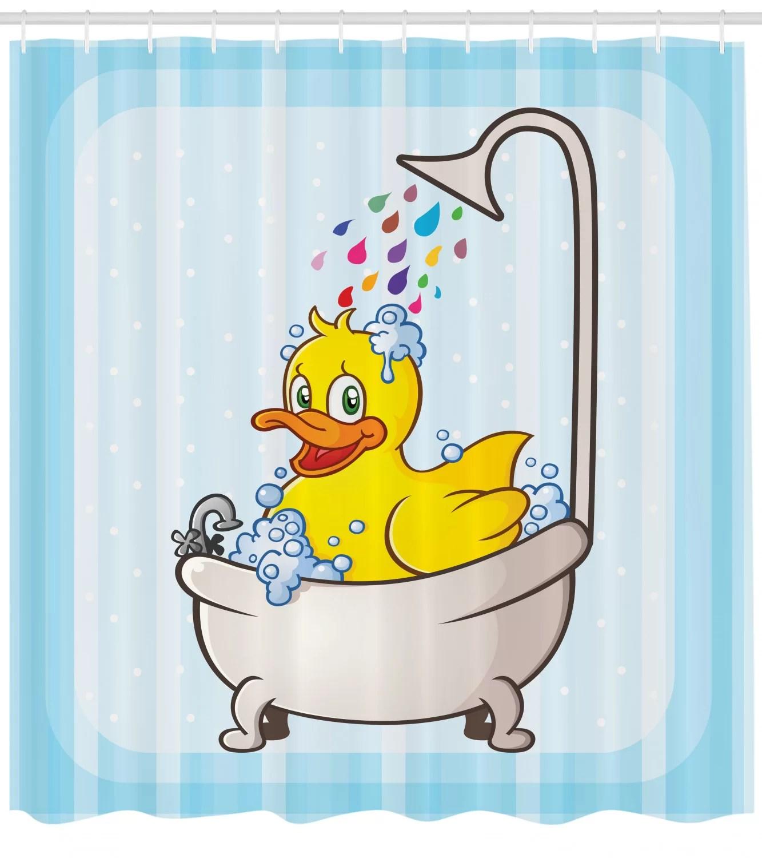 duck shower curtain set hooks
