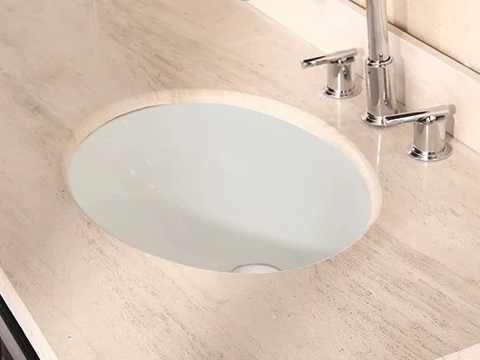 American Imaginations Ceramic Oval Undermount Bathroom Sink with Overflow Sink Finish: Biscuit Hardware Finish: Chrome