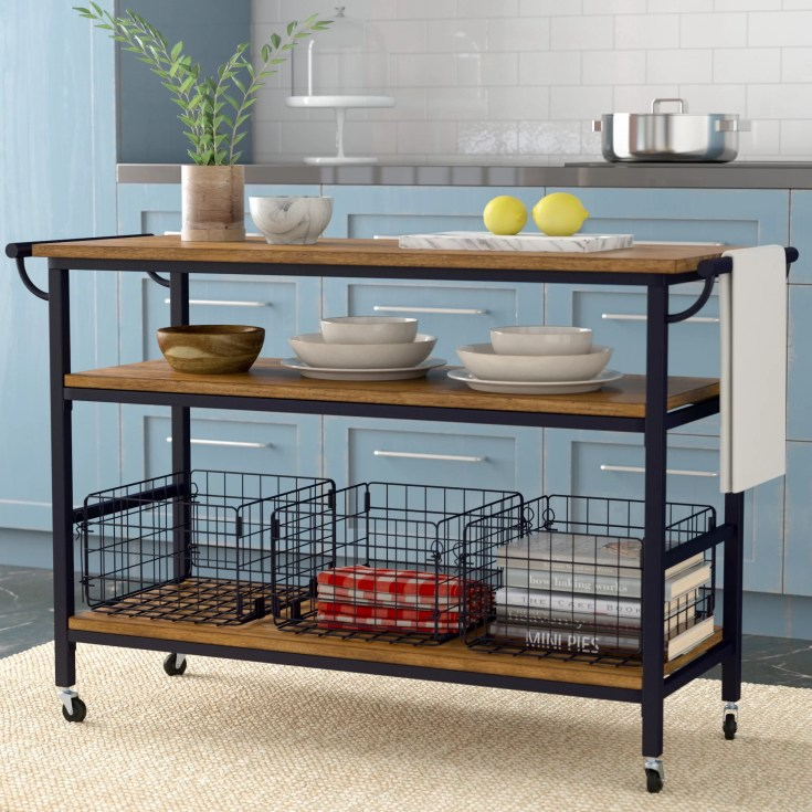 laurel foundry modern farmhouse fresnay kitchen island with wooden