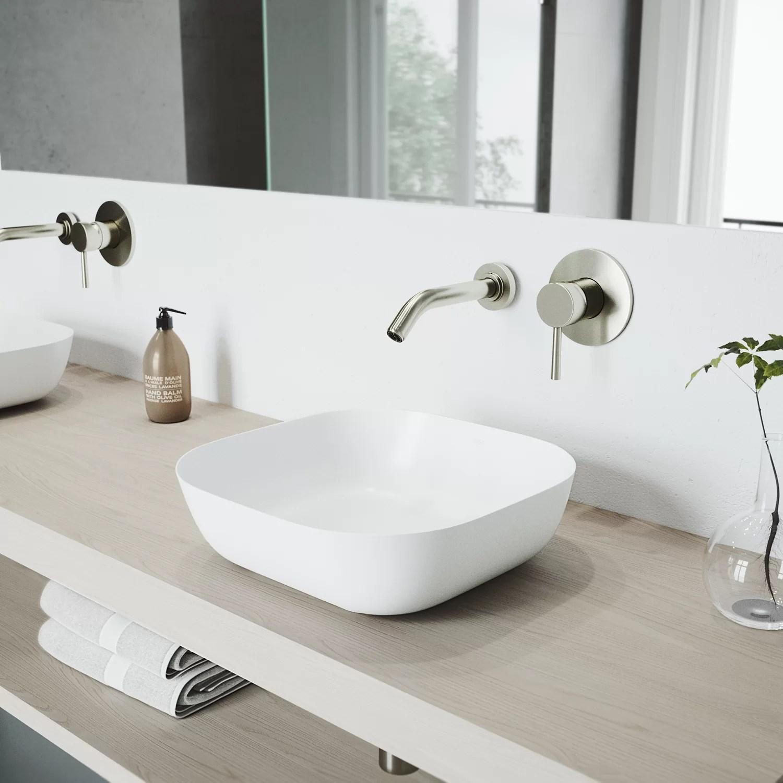 vigo matte stone square vessel bathroom sink with faucet