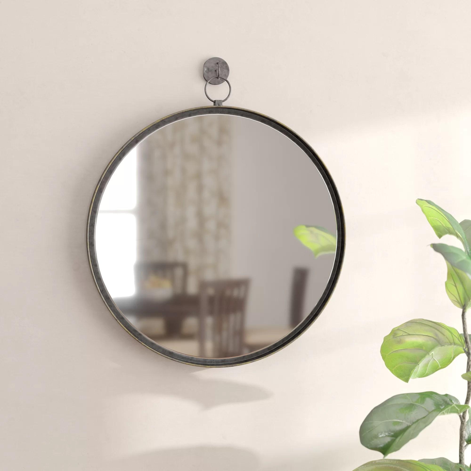 Gracie Oaks Della Suspended Round Wall Mirror Reviews