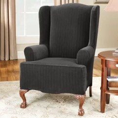 Wingback Chair Cover Vanity Wing Wayfair Stretch Pinstripe T Cushion Slipcover