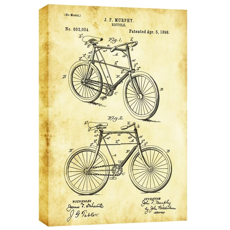 Bicycle Vintage Patent Blueprint Graphic Art on Canvas