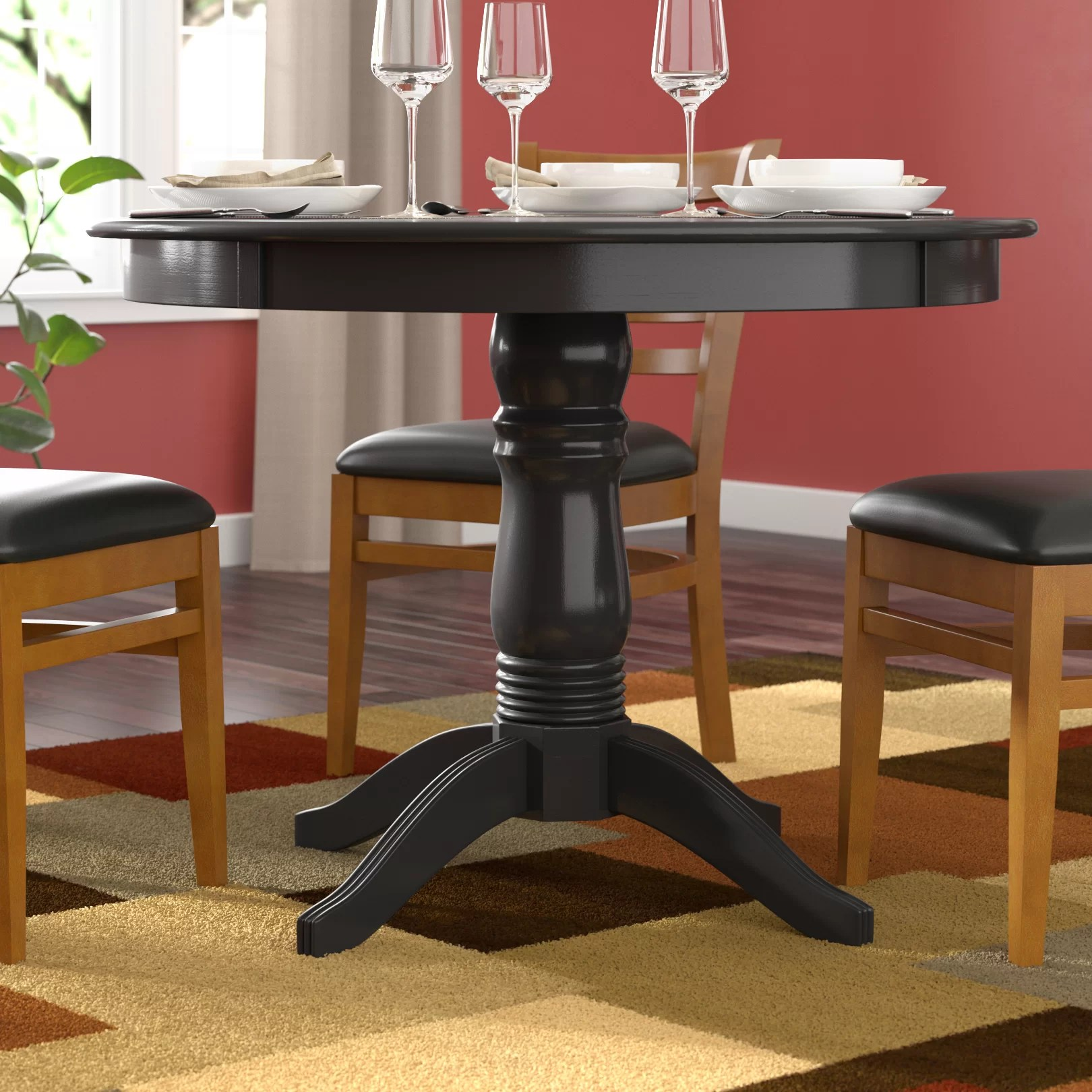 kitchen table base swag curtains wood dining wayfair quickview