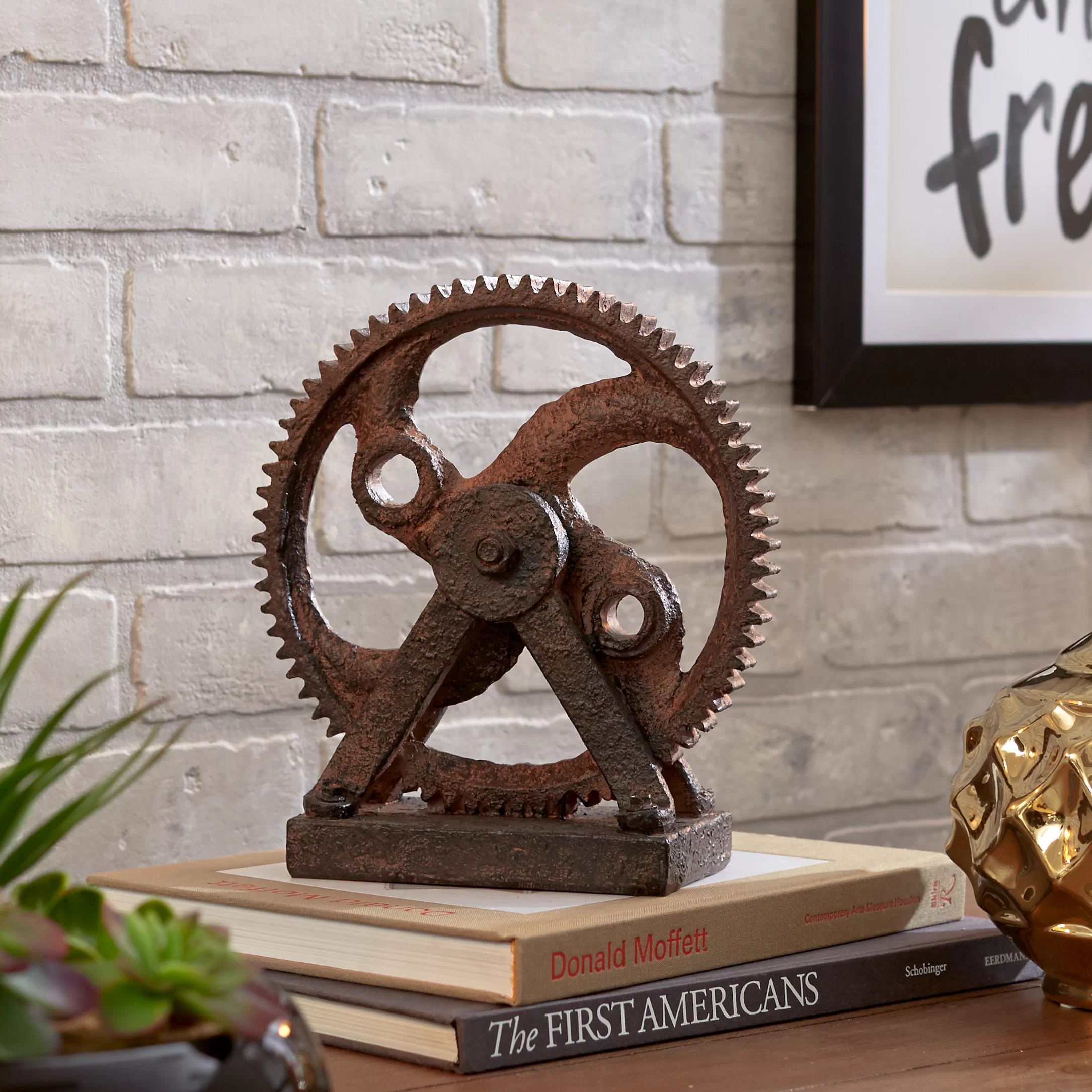 calera rusted gear sculpture