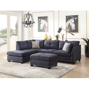 denim living room furniture 5th wheel toy haulers with front dark blue sectional sofa wayfair quickview