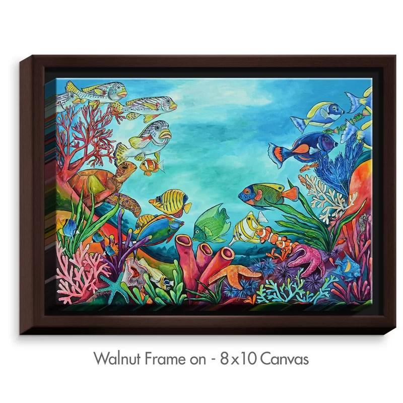 Coral Reef by Patti Schermerhorn Painting Print on Wrapped Framed Canvas Size: 12.75 H x 15.75 W x 1.75 D Format: Walnut Framed