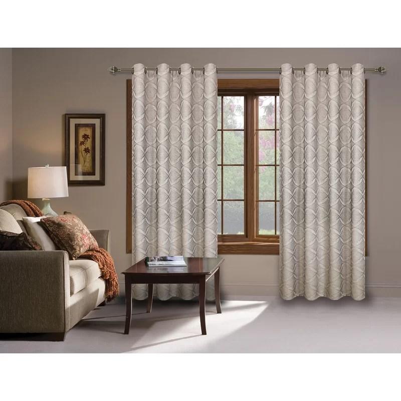 orren ellis grommet window drapery panel geometric for living room and bedroom 54 x 95 inches