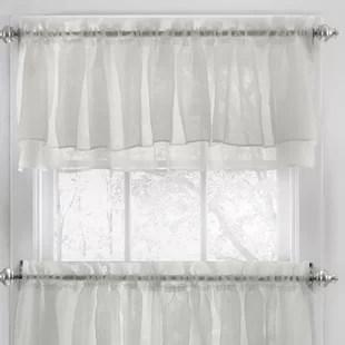 kitchen windows floor rugs curtains for wayfair ca elegant crushed voile ruffle window curtain valance