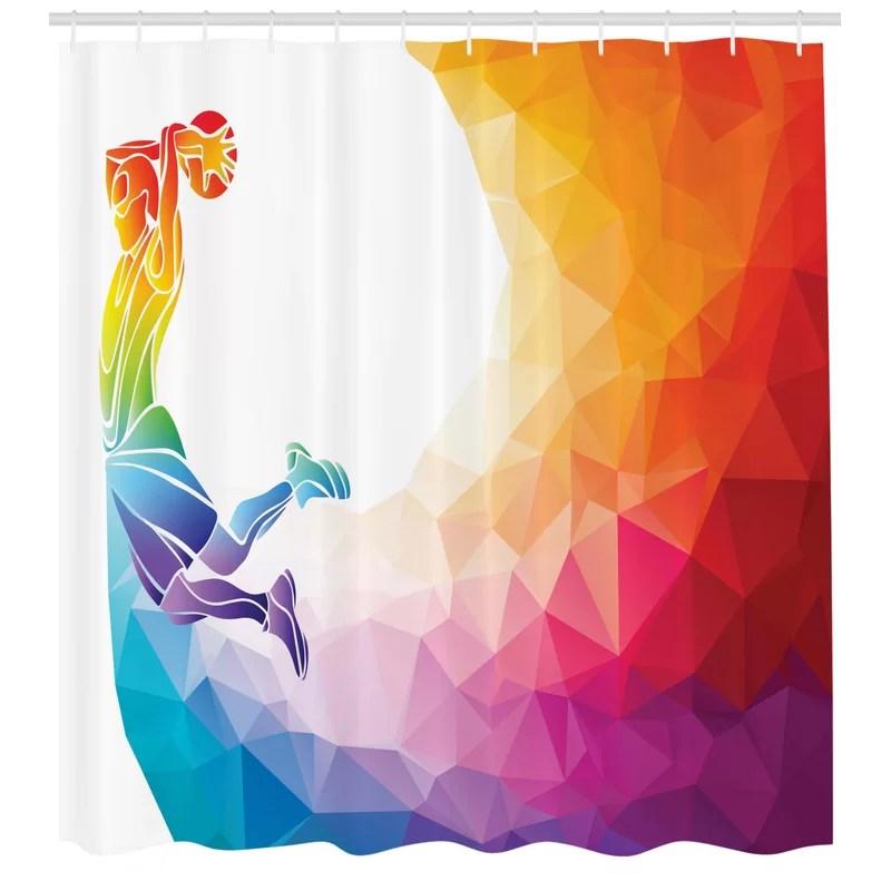 kara rainbow colored theme with a basketball player sports man jumps print single shower curtain