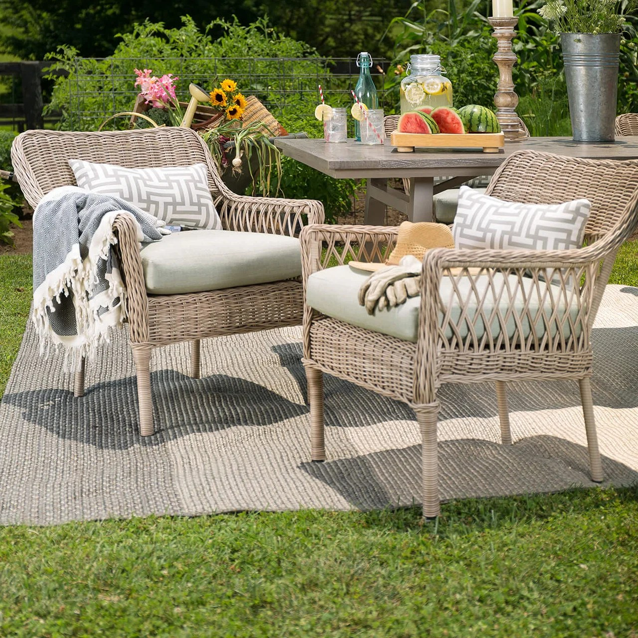 Wicker Outdoor Dining Chairs Paul Stacking Wicker Patio Dining Chair With Cushion