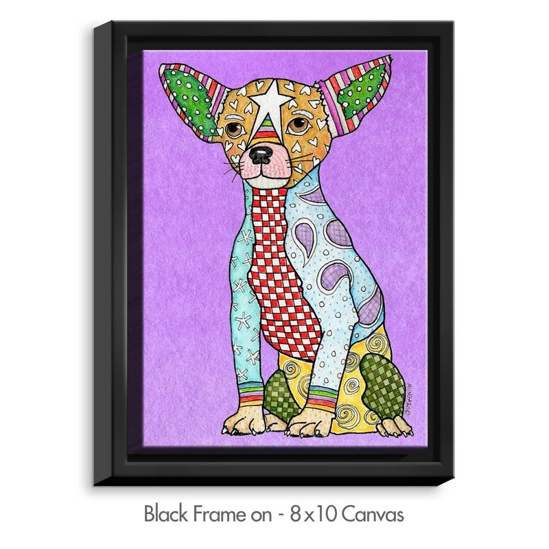 Chihuahua by Marley Ungaro Painting Print on Wrapped Framed Canvas Size: 25.75 H x 19.75 W x 1.75 D Frame Color: Black
