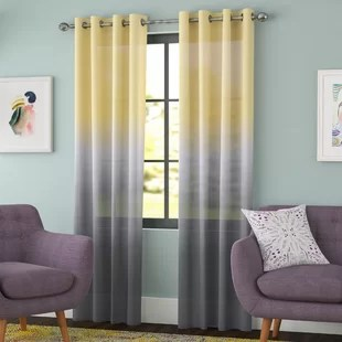 gray and yellow curtains for living room furniture arrangement christmas tree canary wayfair quickview