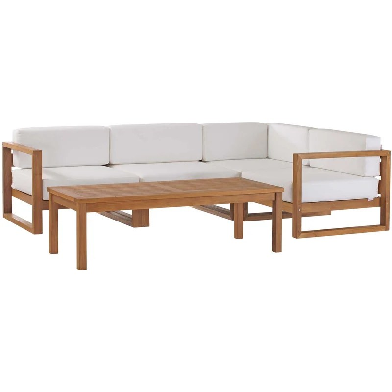 cambridge outdoor teak patio sectional with cushions