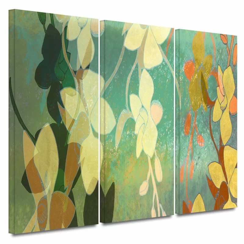 Shadow Florals by Jan Weiss 3 Piece Painting Print on Wrapped Canvas Set Size: 32 H x 72 W x 2 D