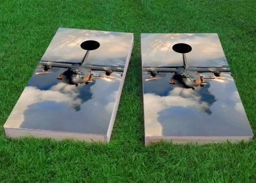 AC130 Flying Cornhole Game Size: 48 H x 24 W Bag Fill: All Weather Plastic Resin