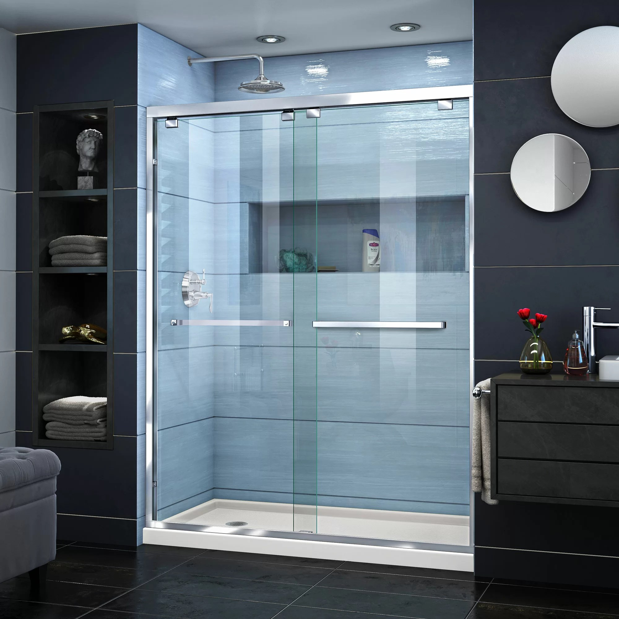 Encore 60 X 78 75 Bypass Semi Frameless Shower Door With Clearmax Technology