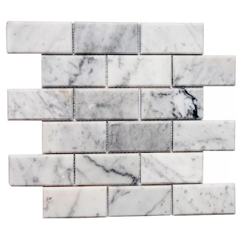 santorini 2 x 4 beveled marble mosaic tile