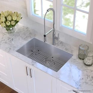 stainless kitchen sinks cherry wood table and chairs steel you ll love wayfair quickview chrome