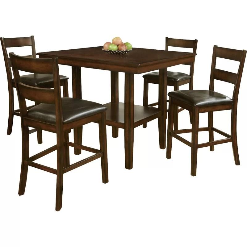 red counter height dining chairs high back chair cushion barrel studio shorebilly 5 piece set wayfair studioshorebilly