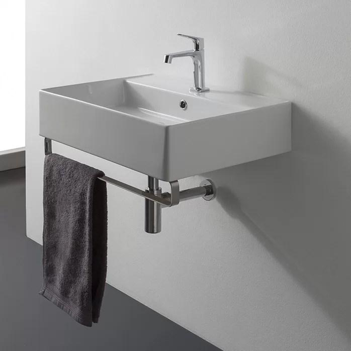 teorema white ceramic rectangular wall mount bathroom sink with overflow