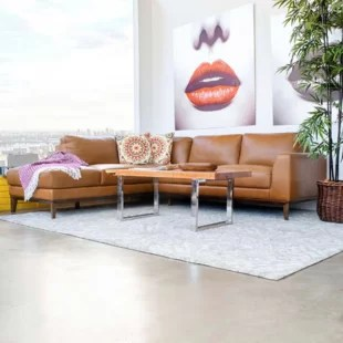 spring street 97 genuine leather sectional sofa chaise