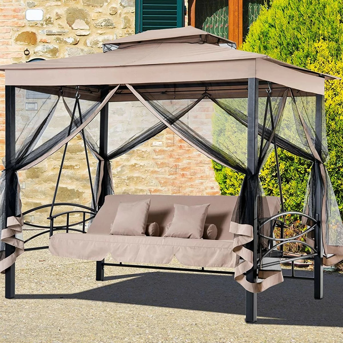 Swinging Chair Outdoor Kenyatta Outdoor Patio Daybed Canopy Gazebo Swing With Mesh Walls