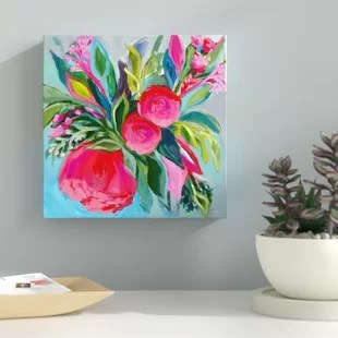 bright floral wall art wayfair