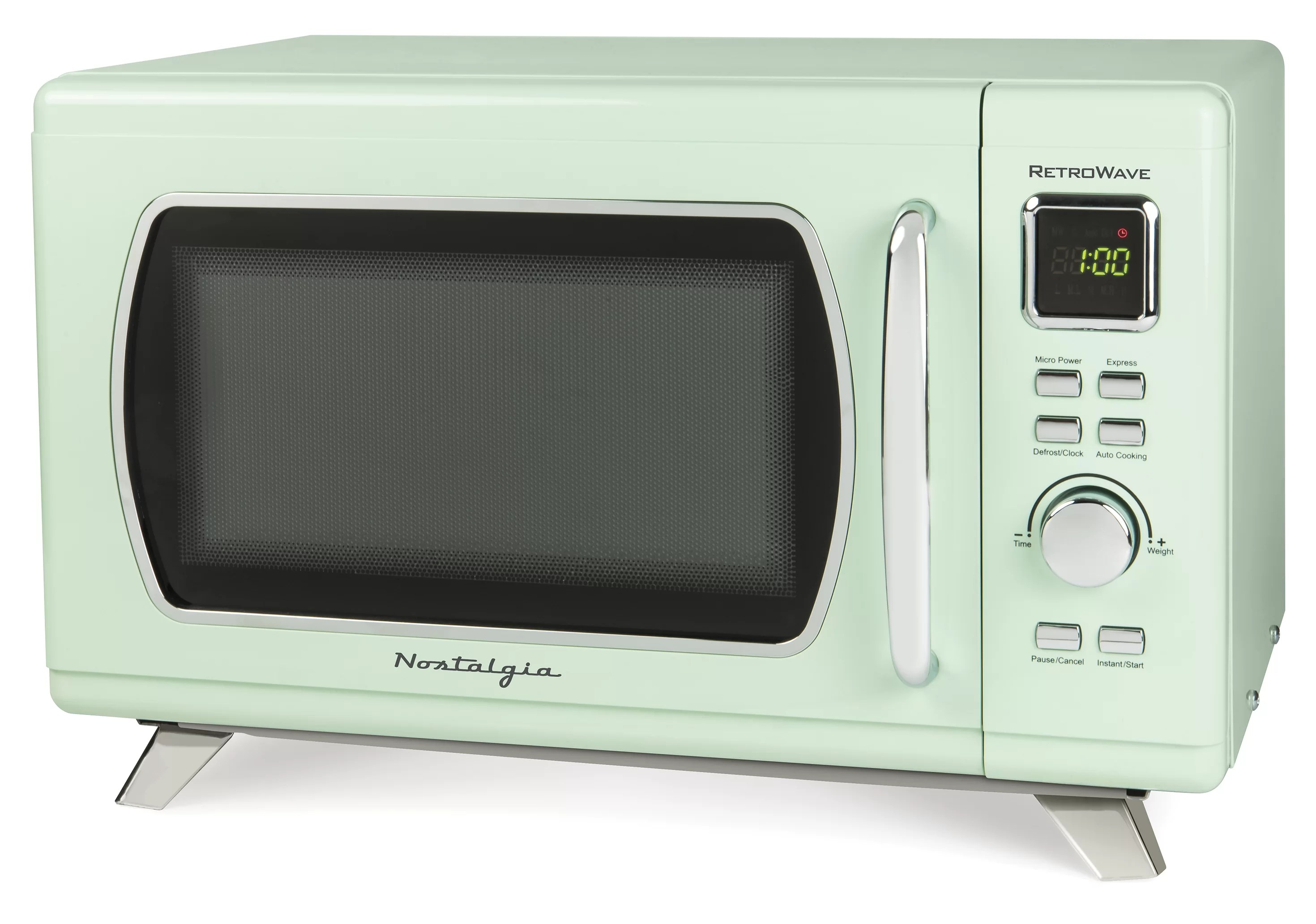 nostalgia mid century retro 0 9 cu ft 900 watt countertop microwave oven with led display 5 power levels 8 cook settings