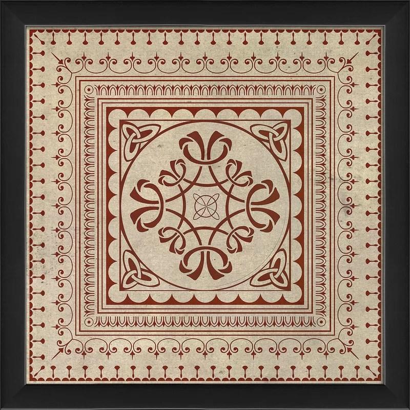 Tile 8 Framed Graphic Art Color: Red