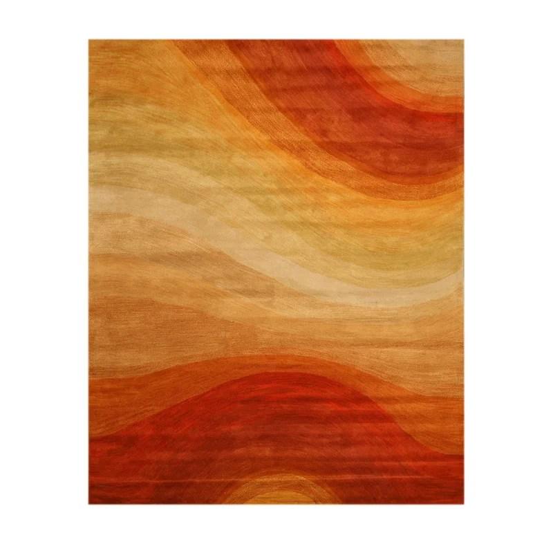 Hand Tufted Orange Area Rug