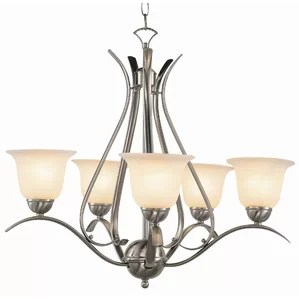 Contemporary 5 Light Shaded Chandelier