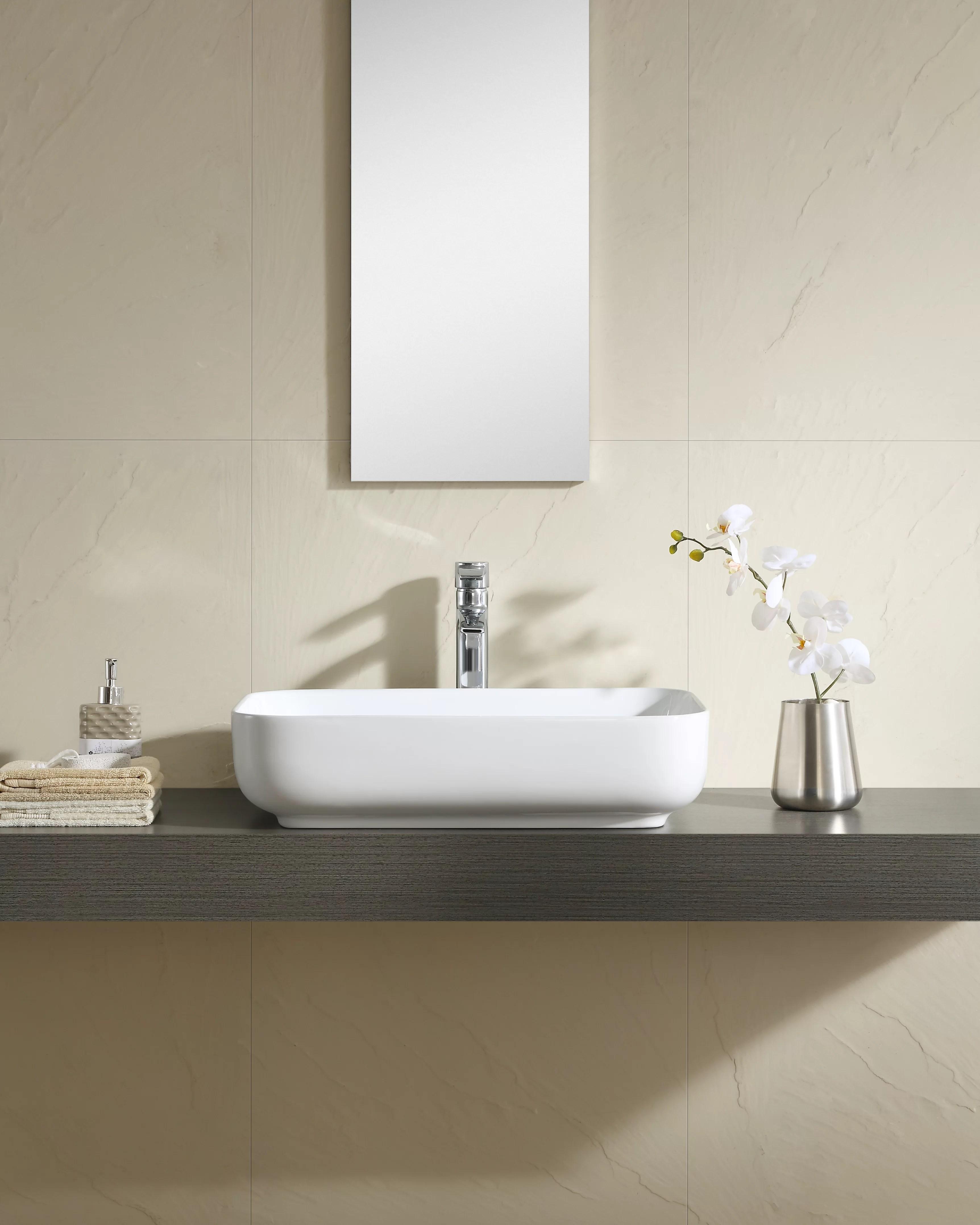 vitreous china rectangular wall mounted faucet bathroom sink