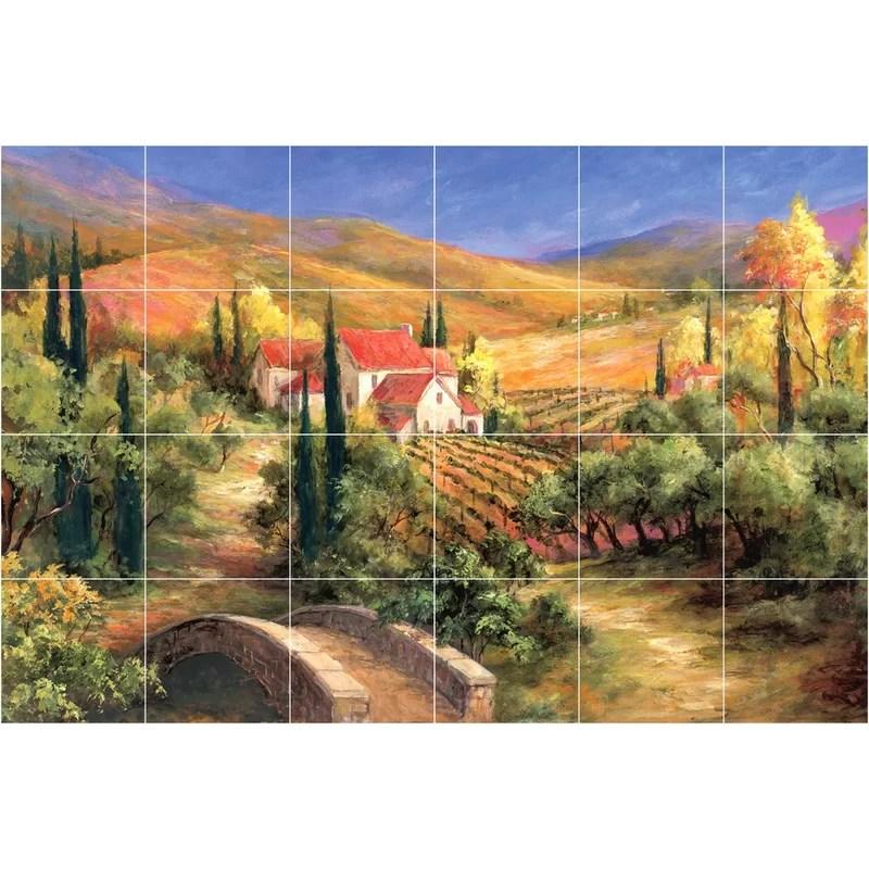 24 x 36 ceramic tuscan bridge decorative mural tile in yellow
