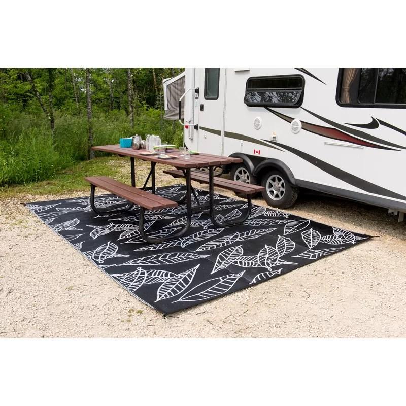 arctic reversible rv camping patio mat black white indoor outdoor area rug