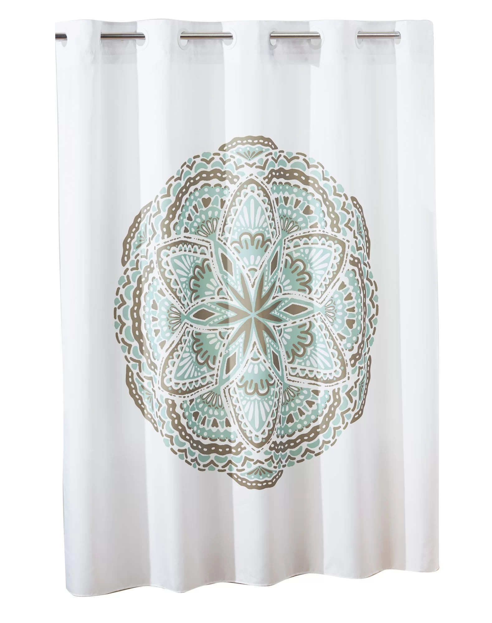 hookless shower curtain henna medallion no window with liner spa