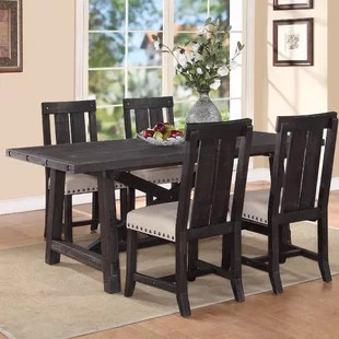dark kitchen table pictures of wood cabinets brown dining wayfair gaudette extendable