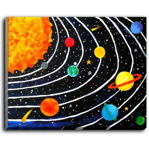 Solar System IV by NJoy Art Painting Print on Wrapped Canvas Size: 30 H x 40 W x 1.5 D