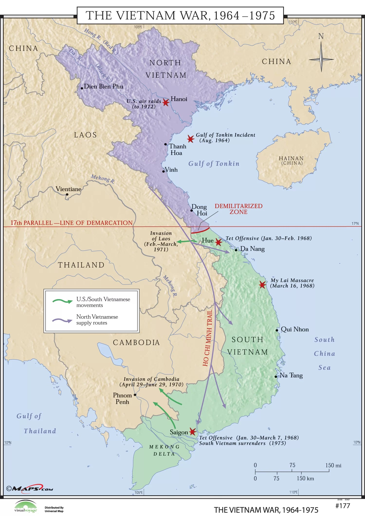 World History Map : world, history, Universal, World, History, Vietnam, 1964-75, Wayfair