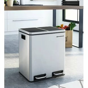 kitchen recycle bin builders surplus & bath cabinets multi compartment rubbish recycling bins you ll love stainless steel 30 litre step on compartments and