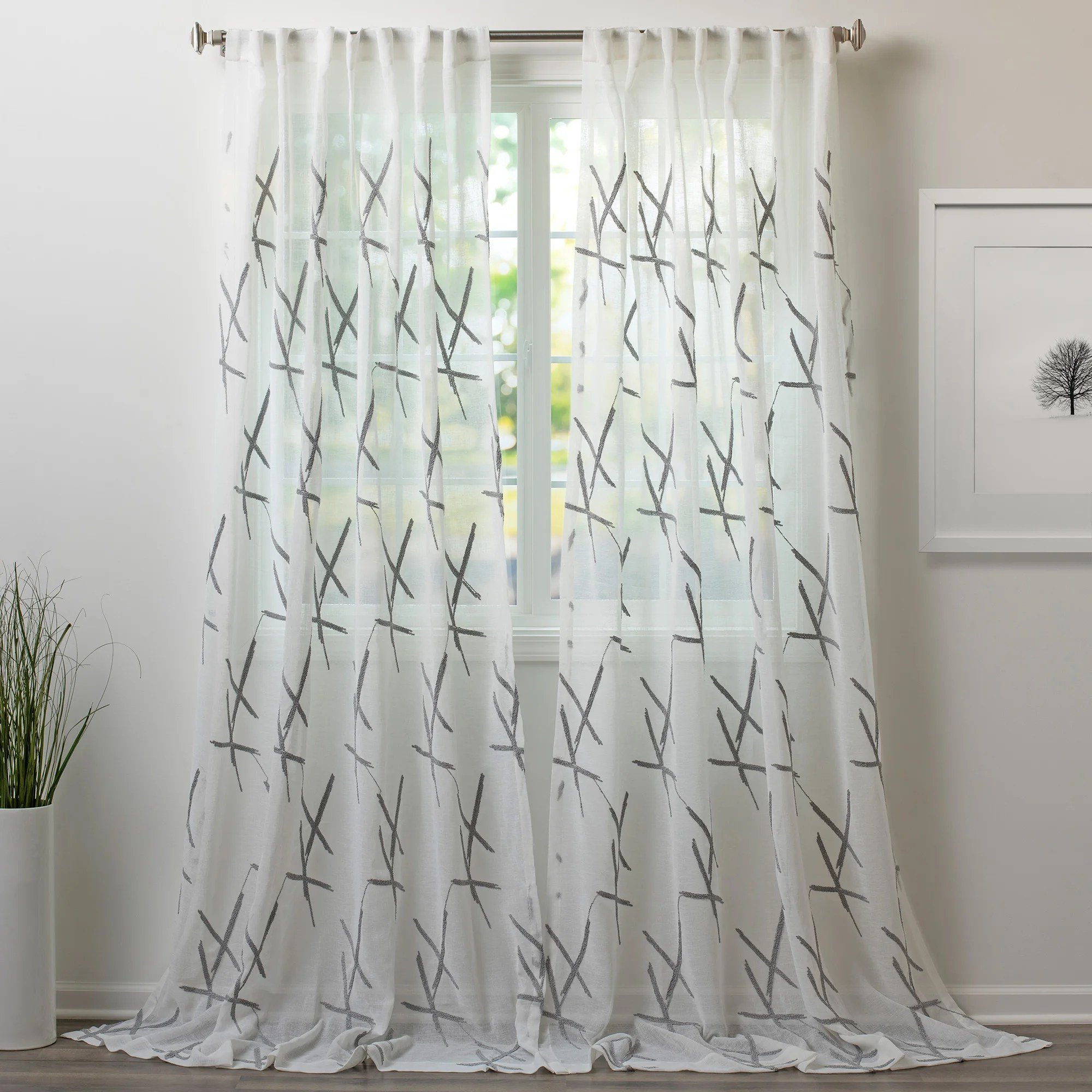 xfactor embroidered sheer rod pocket single curtain panel